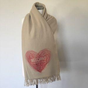 Moschino Extrafine Merino Wool Heart Wrap/Scarf